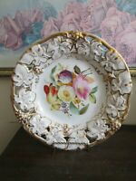 Antique Carl Tielsch TPM Germany Handpainted Plate Vine Leaves Flowers Gold