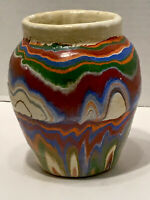 Vintage RARE Ozark Mountain Roadside Tourist Pottery Double Swirl Pattern Vase