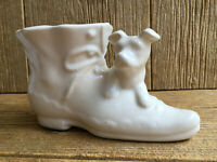 Vintage Shawnee USA Cream Puppy Dog & Boot Planter Thick Heavy Dense Pottery