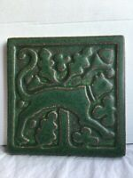 Vintage  Motawi Tileworks Art Tile deco stylized Cat 4in.forest  green Stunning!