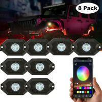 Cree RGB LED Rock Lights 8-Pods Wireless Bluetooth Music Multi Color ATV UTV 4WD