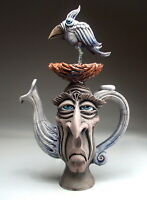 Twittering Teapot face jug folk art pottery bird sculpture by Mitchell Grafton