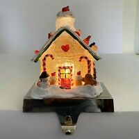 Christmas Stocking Hanger Holder Lighted Gingerbread House Heavy Candy Cane