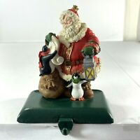 Christmas Stocking Hanger Holder Santa Penguins Cast Iron Base w/Resin 5