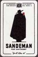 Playing Cards 1 Single Card Old Vintage SANDEMAN Port Sherry Wine Advertising C
