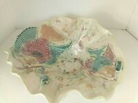 Large Pottery Bowl w Applied Fish Ocean Sea Lake House Center Piece