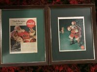 Rare Vintage Pair of Coca Cola Pictures of Santa Claus {24quot; x 19quot;}
