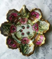 Gorgeous Nippon Nut amp; Candy Dish Emerald Green with Floral Roses 6.5quot; dia