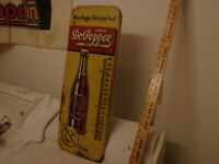 ANTIQUE DR. PEPPER SODA POP METAL THERMOMETER 25quot; GOOD FOR LIFE WHEN HUNGRY