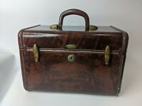 SHWAYDER Bros Samsonite luggage makeup case train carry on hard brown brass vtg