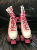 Brookfield Ladies Roller Skates Size 8 White And Pink Wheels