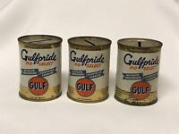 Vintage Gulf Gulfpride HD Select Oil Can Bank Advertising Gas Collectible Lot 3
