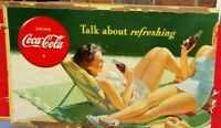 Vintage Coca Cola Cardboard Sign Poster Lady Advertising Coke RARE 1960s