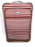 Jessica Simpson Striped Red White Soft Side Rolling Luggage Suitcase 29quot;