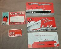 three variations Cunard Line CONQUEST OF THE NORTH ATLANTIC LUGGAGE LABELS