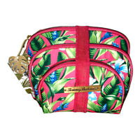 Tommy Bahama 3 pc Cosmetic Zippered Bag Tropical Green Pink Travel Set