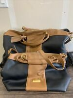 JM New York Black amp; Brown Luggage Set Suitcase With Wheels And Hand Bag