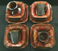 Reba Harmony For The Home Dinnerware Set 16 pc Red Glazed Stoneware New w Tags $249.00