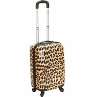 Rockland Luggage 20quot; Hard Sided Lightweight Spinner Carry On Luggage Cheetah