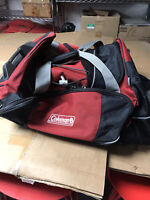 """Coleman Rolling Duffle Suitcase Luggage Travel Bag w Wheels 30"""" Red black"""