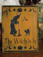 Primitive Halloween Sign The Witch is In Black Cat Bat Spooky Decor Bats Pumpkin