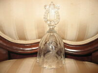 Vintage Frosted Cut Glass Crystal Bell w/Etched Mandolin, Clarinet