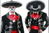 JUMBO LARGE BLACK MEXICAN MARIACHI SOMBRERO HALLOWEEN DAY OF THE DEAD HAT G0574 $22.99