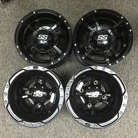 SET OF 4 ITP SS112 Rims MATTE BLACK FOUR WHEELS 4/144 10x5 4/110 9x8 ALUMINUM