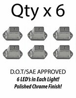 HEAVY DUTY LICENSE PLATE 6 LED LIGHT BOAT TRAILER RV TRUCK ATV - CHROME - QTY 6
