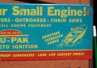 Vintage Outboard Gas Oil Boat Lawn Mower Chain Saw Spark Plug Display Rack Sign
