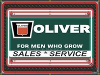 OLIVER TRACTOR KEYSTONE DEALER REPLICA SIGN NEON STYLE PRINTED BANNER ART 4 X 3