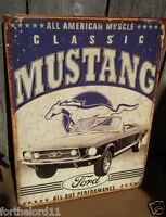 Vintage Ford Mustang Classic Tin Metal Sign Auto Muscle Car Garage Pony American