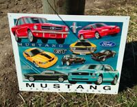 Vintage Ford Mustang Chronology Tin Metal Sign History Muscle Car Garage Classic