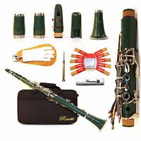 Rossetti 1151 Glossy ABS Clarinet BB Flat with 2 Barrels, Case/Care Kit GREEN