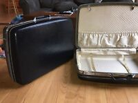 vintage samsonite luggage 2 dark blue hard cased suitcases