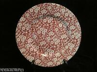 HTF CHURCHILL CALICO RED TRANSFERWARE~DINNER PLATE~ENGLAND~PINK~VEUC
