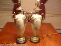Antique Morimura Brothers Hand Painted Nippon Jeweled Bolted Urn Lamps
