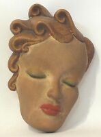 VINTAGE ART DECO PAINTED PLASTER FEMALE HEAD WALL DECORATIONS SIGNED