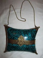 vintage art deco brass copper metal enamel teal blue shell pillow box bag