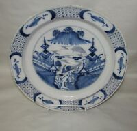 Antique Delft Charger Chinoiserie Chinese Motif
