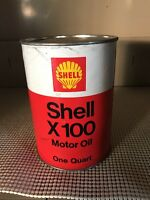 VINTAGE 1 QUART SHELL X100 MOTOR OIL CAN MAN CAVE