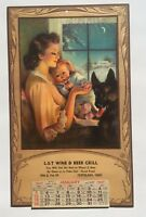 1947 Advertising Calendar w Mother, Child and Dog on Snowy Night Image Cleveland