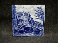 Old Delft Blauw Tile Blue Old House River Bridge Pottery Holland Hand Painted