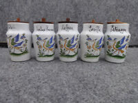 Vintage Decor Moustiers French Pottery Spice Jars with Wooden Lids