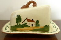WATCOMBE TORQUAY POTTERY COTTAGE MOTTOWARE LIDDED CHEESE DISH