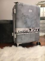 NWT BEBE Women#x27;s Lilah Silver Marble Large Luggage Suitcase Spinner Wheels 21quot;