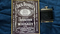 JACK DANIELS (Leather Covered) FLASK & PICTURE (10