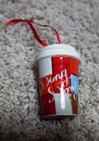 Starbucks limited holiday Christmas 2016 ceramic paper cup-shaped ornament rare