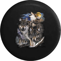 Spare Tire Cover White Grey Wolf Native American Howling Moon Mountain SUV or RV