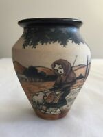 Ciboure Vase Lourdes French Art Pottery Vintage Hand Painted Signed 03731